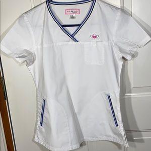 Koi Scrub Top White Women's small medical scrubs